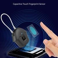 Rechargeable Intelligent Fingerprint Lock USB Smart Waterproof Rope Anti theft Portable Padlock