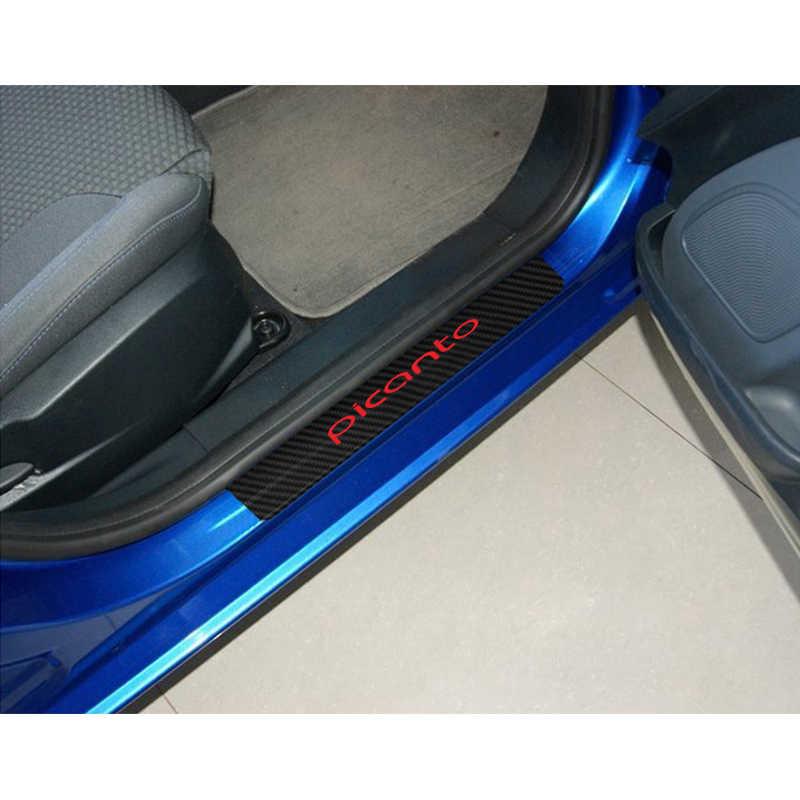 Płyta drzwi samochodu naklejki dla Kia Picanto wygląd włókna węglowego naklejki samochodowe próg drzwi Scuff pokrywa odporne na zadrapania naklejka akcesoria samochodowe