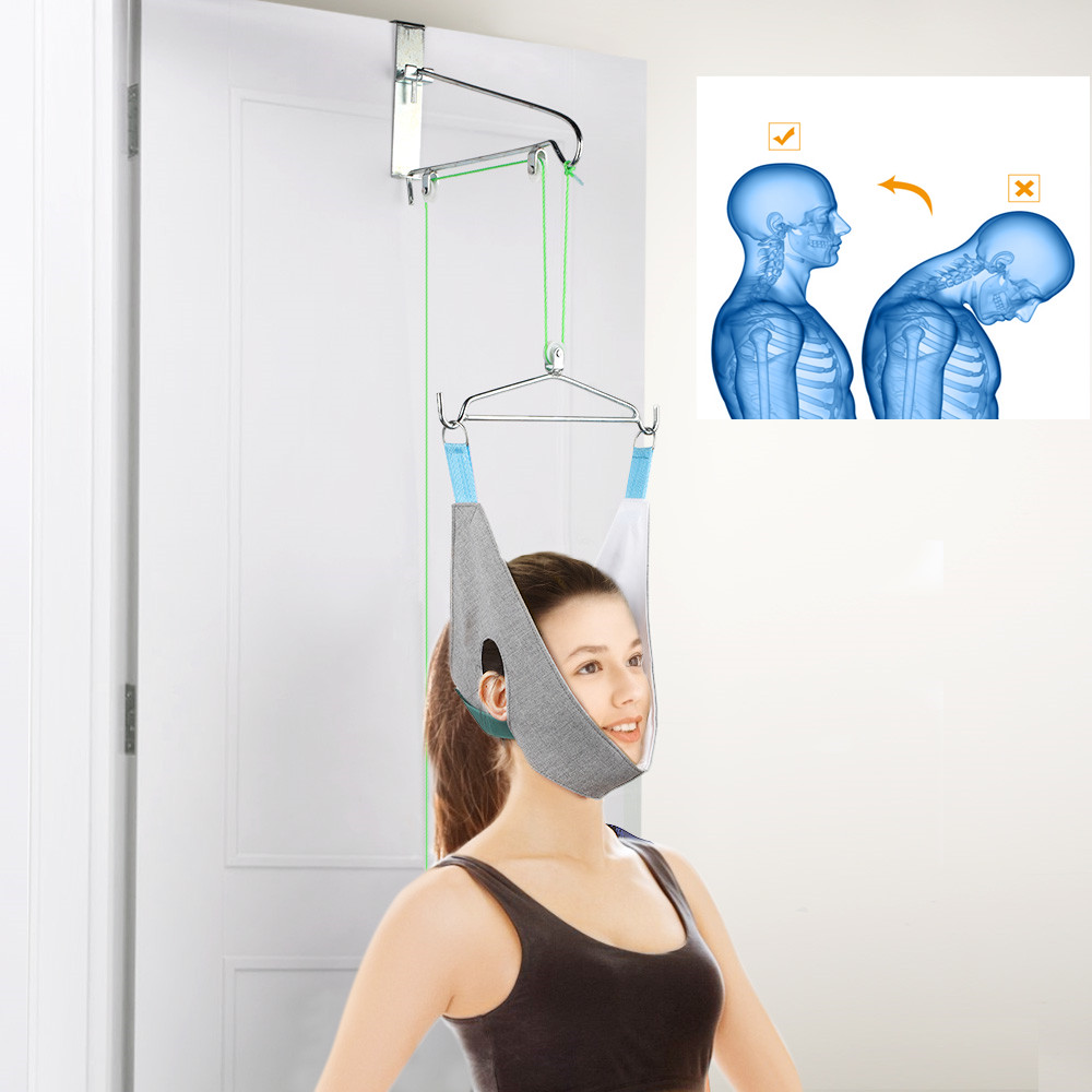 Hanging Neck Traction Device Cervical Correction Stretcher Traction Neck Massager Therapy Pain Relief Adjustment Head Massager