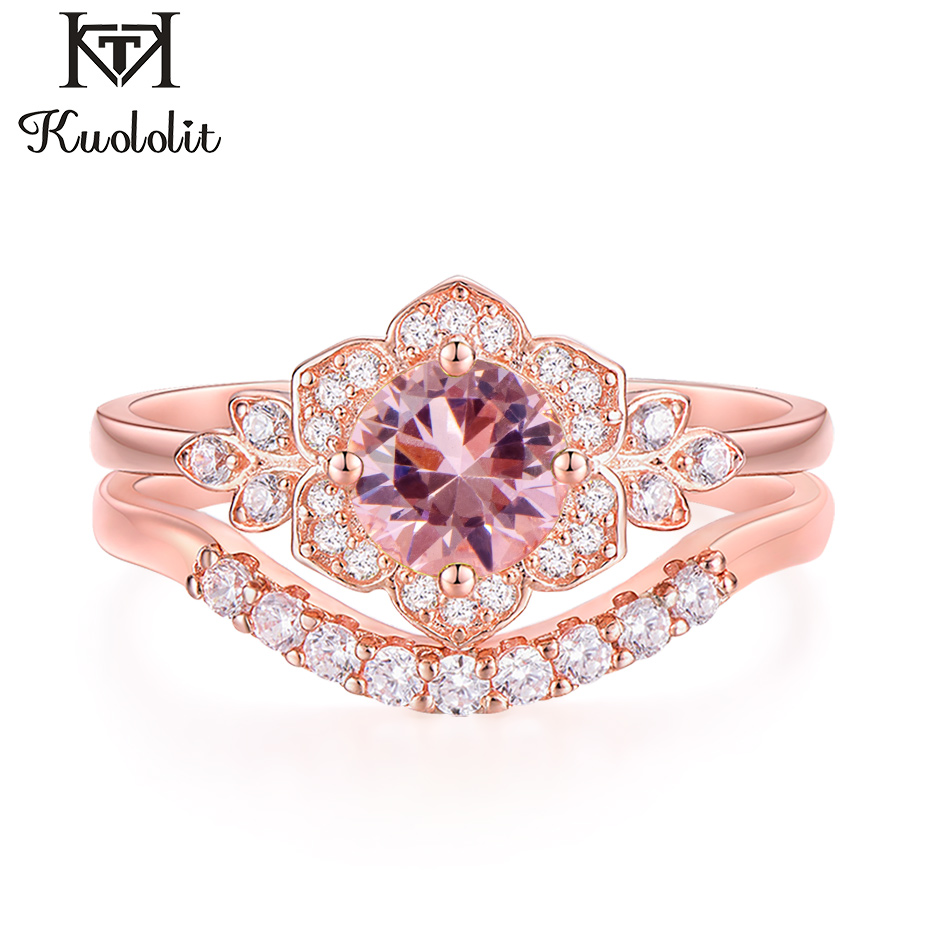 Kuololit Morganite Gemstone Set Rings For Women 925 Sterling Silver Created Stone Band Stacking Ring Engagement Fine Jewelry