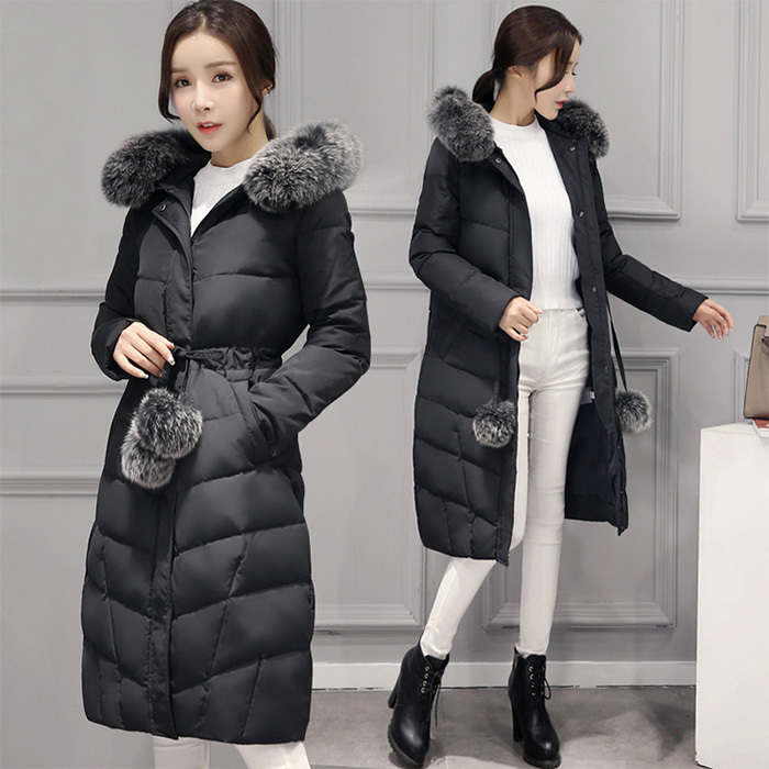 Long Duck Down Jacket Women Winter Fox Fur Collar Korean Coat Femenino Thicken Womens Coats Casacas Para Mujer KJ372