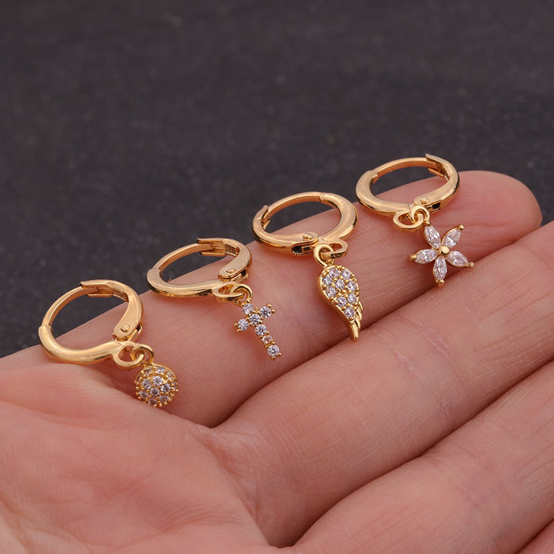 1PC Ear Piercing Jewelry Cross Star Love Heart 20G Gold Hoop With Cz Pendant Cartilage Helix Rook Earring