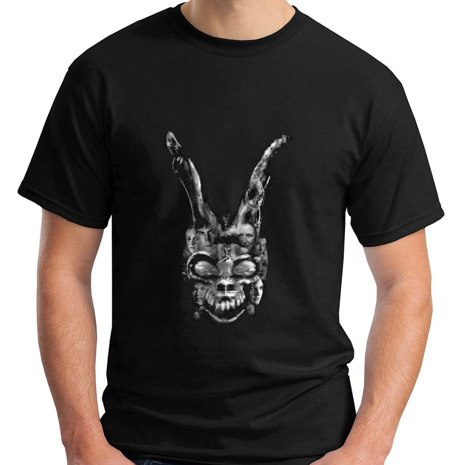 New Donnie Darko Bunny Talk To Frank Rabbit Cult Movie Black T-Shirt Size S-3XL New Fashion T Shirts Graphic Letter image
