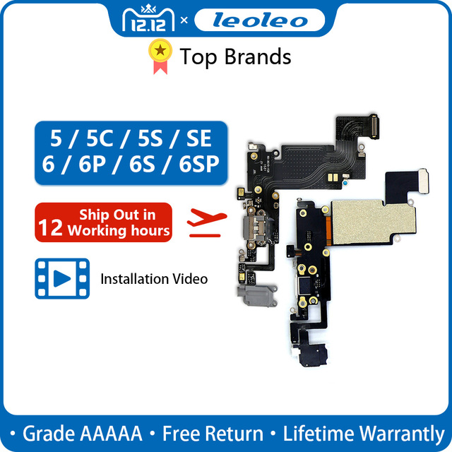 LEOLEO USB Charging Port Dock Connector Flex Cable For iPhone 4G 4S 5G 5S 5C SE 6G 6 Plus 6S Mircophone Headphone Audio Jack