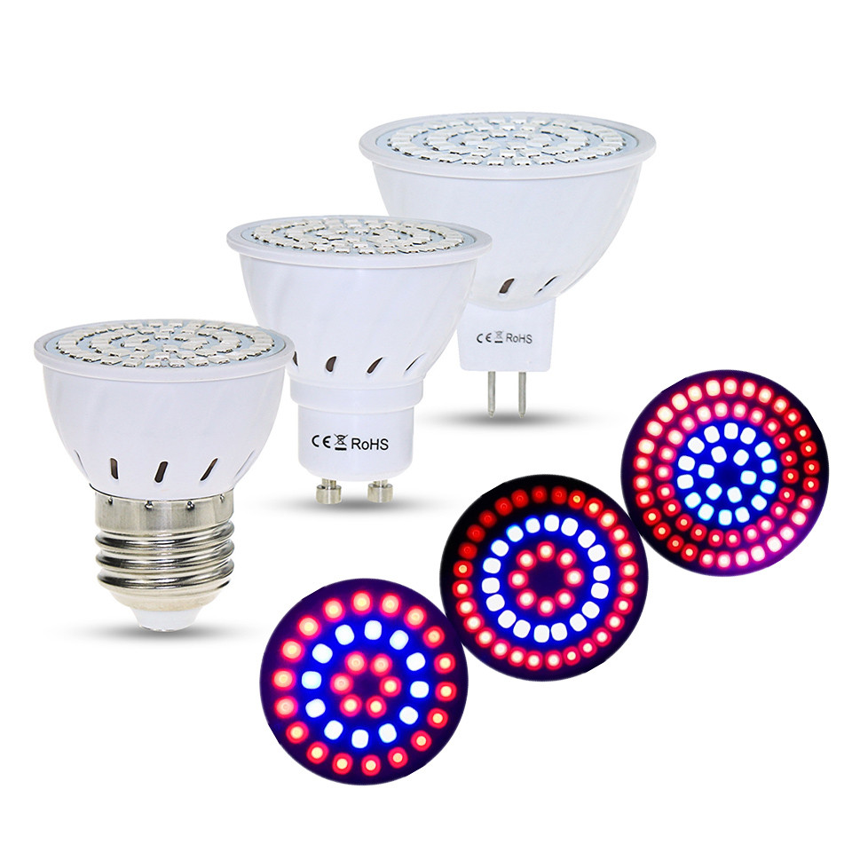 36/54/72LEDs Full Spectrum Led Grow Light Bulb 220V E27 MR16 GU10 UV IR Spot Light Grow Lamp Led Bulbs For Seedling Greenhouse Plants Vegs Aquarium Phyto Lamp