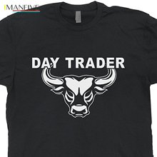 2019 Day Trader T Shirt Bitcoin Shirts Wall Street Mad Stock Market Money Trading Tshirt Forex Book Guide Wall Street Bull  Tee