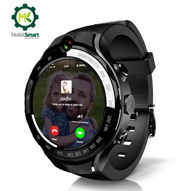 MOKA 4G 스마트 워치 남자 400*400 AMOLED 화면 안 드 로이드 7.1 MTK6739 ios에 대 한 GPS WiFi smartwatch와 5MP 듀얼 카메라