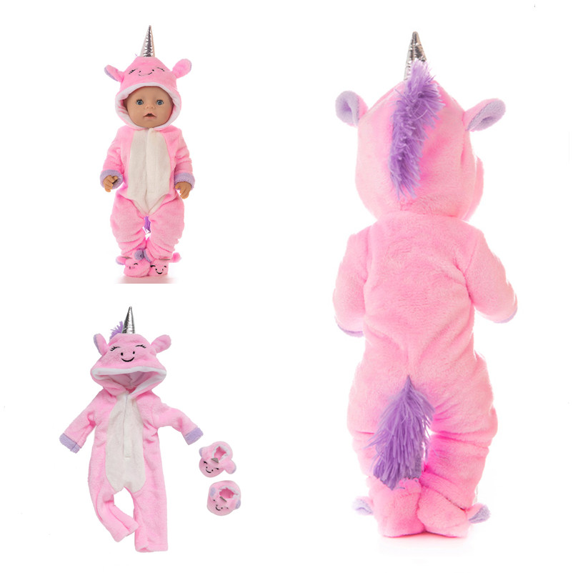 2020 New 18 Inch Born New Baby Doll Clothes Accessories 43cm Pink Blue Purple Red Plush Unicorn Clothes For Baby Festival Gift