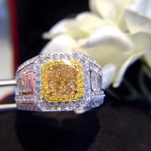 Luxury Fashion Men's Ring Charm Yellow/White Zircon Ring For Men Engagement Wedding Ring Cocktail Party Anniversary Jewelry Gift luxury women s crystal zircon ring red green gem ring round ring valentine s day gift cocktail party jewelry engagement ring