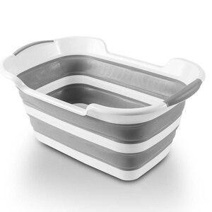 Portable Foldable Bathtub Basin Mop Bucket Thick Baby Bath Tub Foot Bath Pet Dog Washing Basin Practical Storage Fishing Barrel(China)