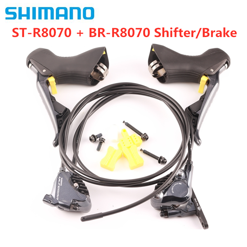 Shimano Ultegra Di2 R8070 ST R8070 + BR R8070 Hydraulic Disc Brake   Flat Mount   2x11 speed   Pair Bicycle Brake     - title=