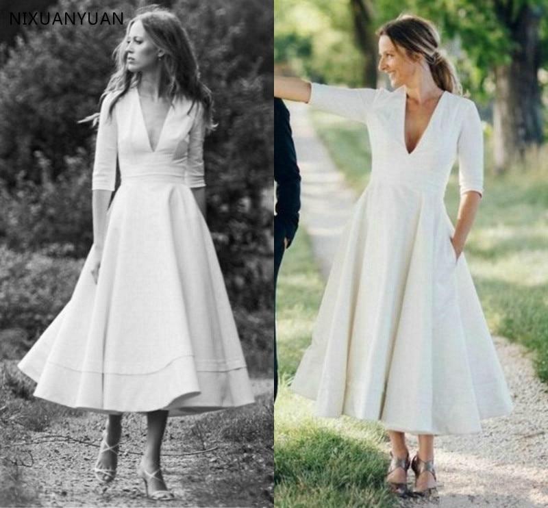 Vintage Tea-length 1920s' Wedding Dresses with Half Sleeve V Neck Retro Country Boho Bridal Gowns Vestido De Noiva Custom Size