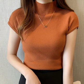 Women Solid Color Half Turtleneck T Shirt Short Sleeve Knit T-Shirt Fashion Slim Casual T-Shirts sexy style jewel neck solid color voile splicing half sleeve t shirt for women
