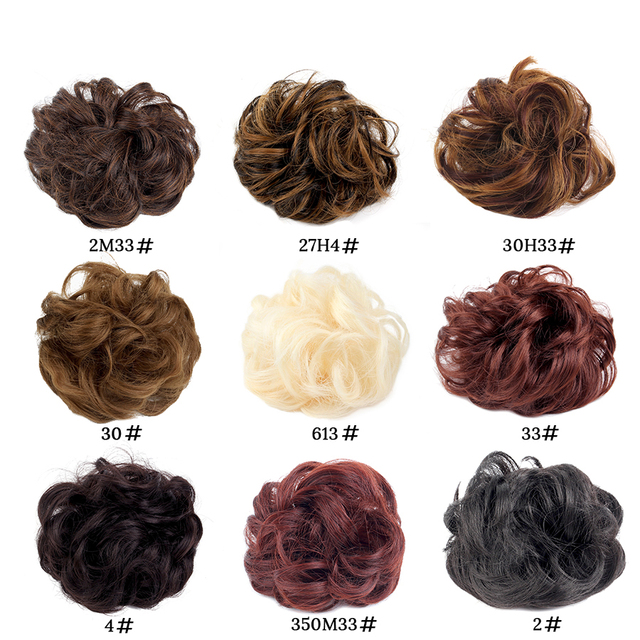 AliLeader Messy Elastic Chignon Ponytail Synthetic Hair Bun Elastic Ring Wrap Girls Curly Scrunchie Chignon Hair Bun With Rubber