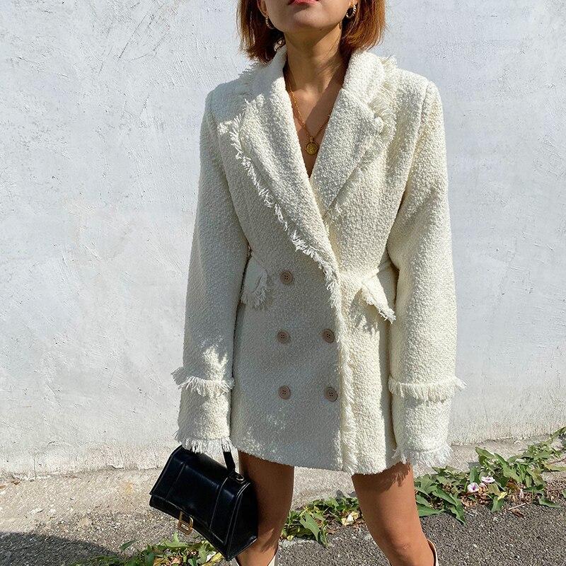 2020 Real Long Jaqueta Feminina Blazer Mujer Vadim Women's Suit 2020 Spring New Style Fringed Edging Loose Shoulder Pad Coat