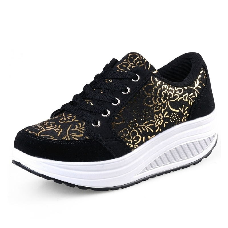 Women Toning Shoes Wedge Slimming  Fitness Swing Shoes Female Platform Height Increasing Breathable Sports Sneakers Eu35-42