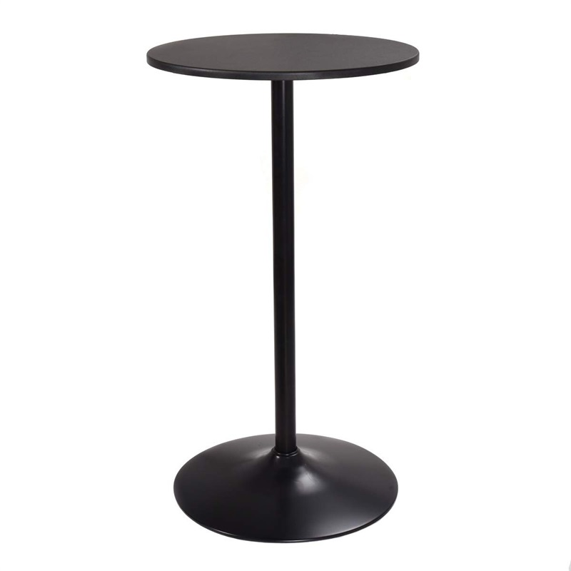 "24"" Round Pub Dining Bar Table Black MDF Top Pasted With PVC Ergonomic Bar Stool Home Dining Room Table HW52901"