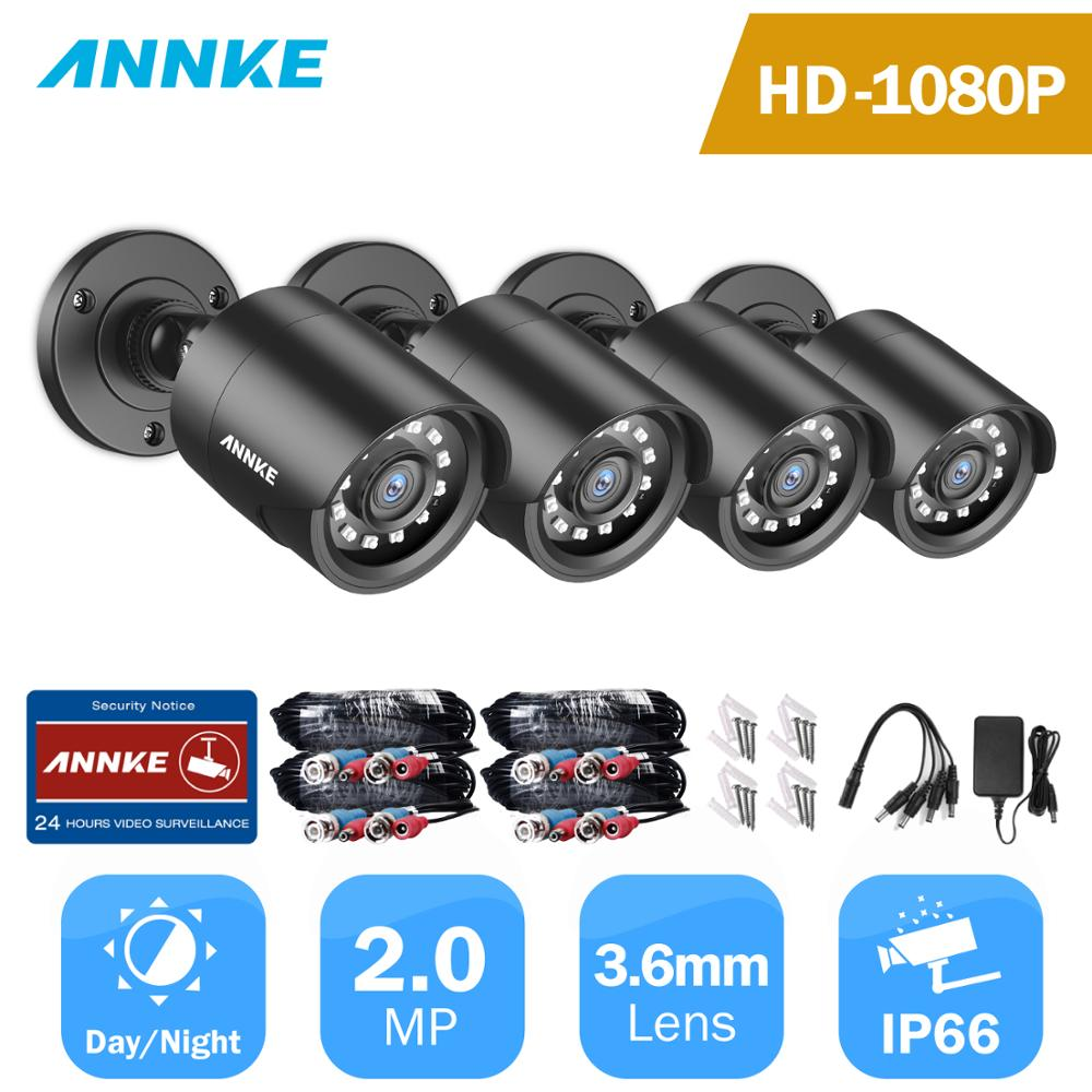 ANNKE 4PCS 1080P Surveillance Cameras 2MP IP66 Waterproof Indoor Outdoor CCTV Camera Kit 30m Night Vision With Smart IR Cam