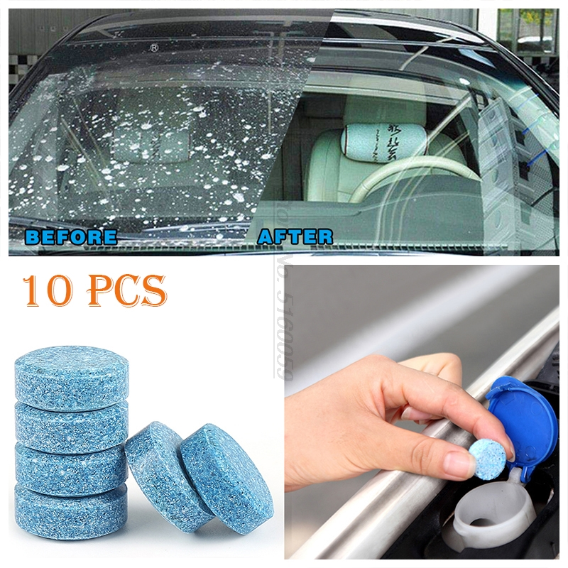 10PCS 1pcs=4L Car Accessories Solid Wiper Window Glass Cleaner For Windshield Cleaner Cleaning Tablets Windshield Fan Nozzles