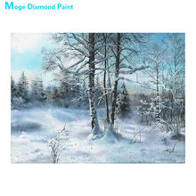 Winter forest landscape Diamond Painting Round Full Drill Scenic Nouveaute DIY Mosaic Embroidery 5D Cross Stitch home decor gift(China)