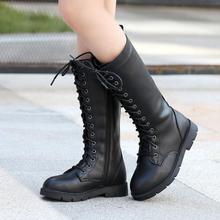 """Сапоги выше колена; Тайвань XIA Yu yao Новинка осени; модные черные сапоги; Водонепроницаемая Обувь из pu искусственной кожи с поперечными ремешками сапоги """"Принцесса"""" для девочек размер 36"""