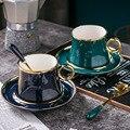 Europäischen-Stil Kleine Luxus Einfache Gold Folie Keramik Kaffee Becher Gesetzt Mediterranen Stil Blume Tee Schwarzer Tee Nachmittag Tasse
