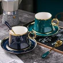 Estilo europeu pequeno luxo simples folha de ouro cerâmica caneca de café conjunto estilo mediterrâneo flor chá chá preto copo da tarde