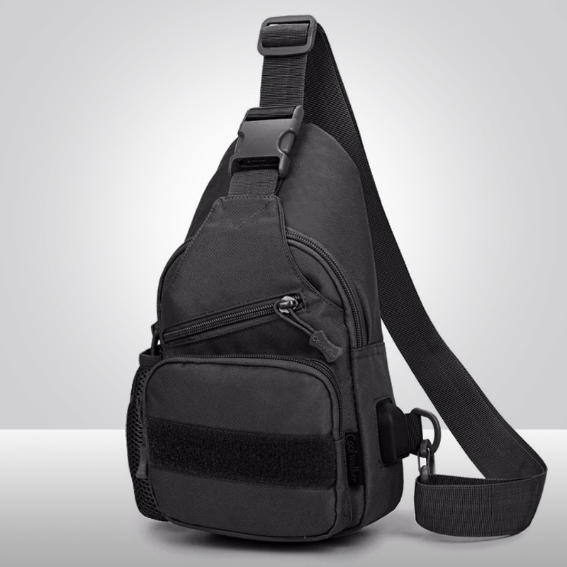 MEN'S Single-shoulder Bag USB Charging Chest Pack Tactical Chest Pack Shoulder Bag Men's Outdoor Canvas Theft