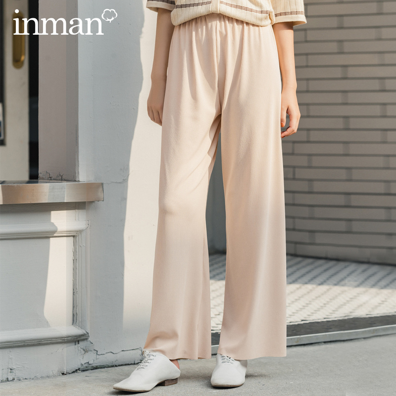 INMAN 2020 Summer New Arrival Ventilate Skin-friendly Elastic Waist Pure Color Loose Drape Long Pant
