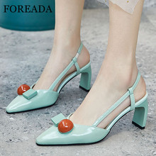 FOREADA Woman Slingbacks Shoes Natural Genuine Leather High Heels Pointed Toe Chunky Heel Shoes Dress Female Pumps Black Size 42 foreada woman high heels natural genuine leather slingbacks shoes buckle stiletto heel footwear pointed toe lady pumps beige 40