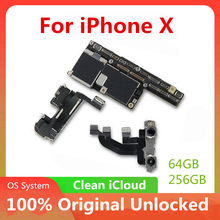 64gb 256gb com face id/sem face id para iphone x placa lógica desbloqueado placa com chips completos sistema ios nenhum icloud(China)