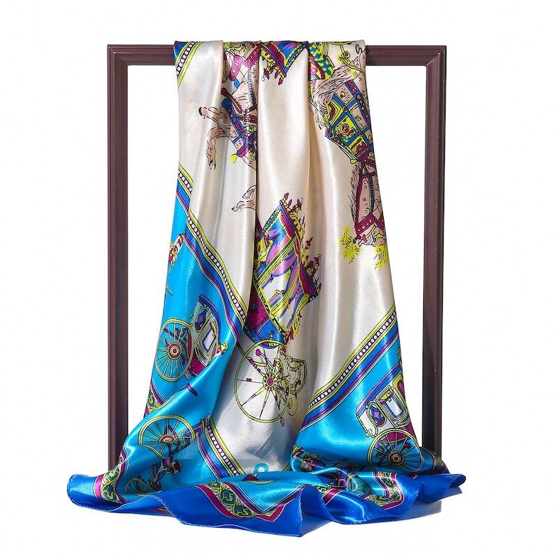 Summer Silk Square Scarf Lady Print Bandana Luxury Brand Designer Hair Scarfs Head Wraps For Women Fashion Hijab Shawl 2020 New