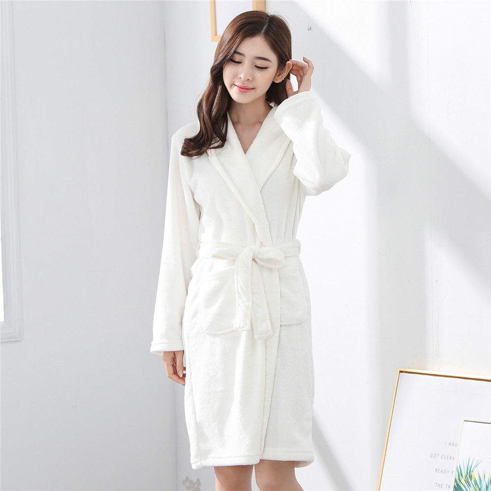 White Flannel Nightwear Women Bath Solid Robe Sleepwear Autumn Winter Dress Kimono Robe Nightdress Coral Fleece Home Clothing