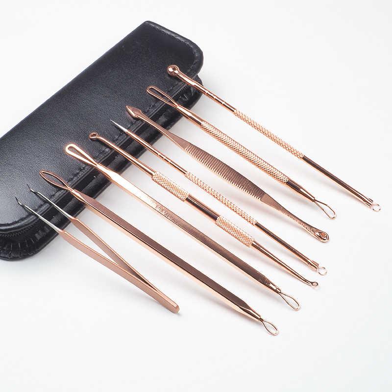 7 Pcs Comedondrukker Tool Zwarte Vlekken Naalden Porie Cleanser Vacum Comedo Puistje Blemish Extractor Schoonheid Acne Remover Gereedschap