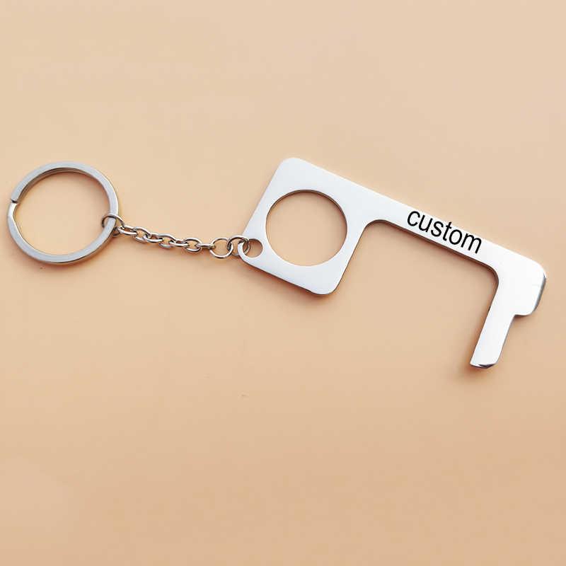 Fashion Key Door Opener Handheld Keychain No Touch Hand Tool Women Men Keyring