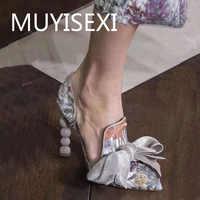 Women Pumps White Full Genuine Leather Printing Bow Pointed Toe Strange High Heel Stiletto Woman Party Shoes 34-43 YT02 MUYISEXI