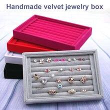 Venda quente moda portátil de veludo jóias anel exibição organizador caixa bandeja titular brinco caso armazenamento de jóias vitrine