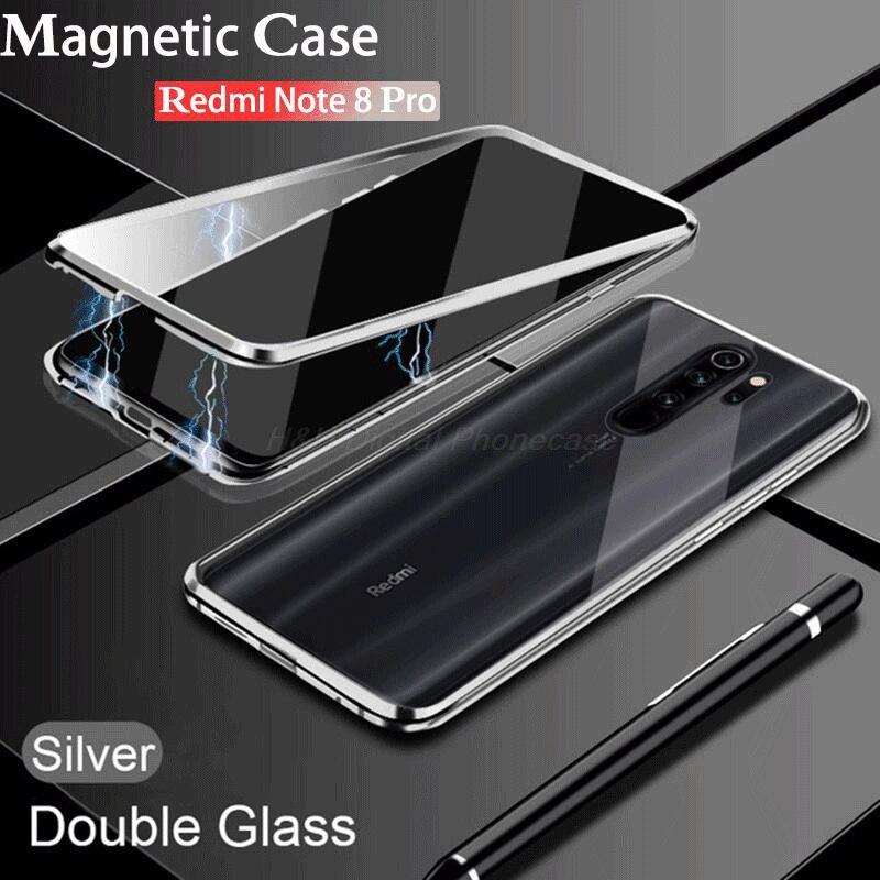 Dwustronna magnetyczna metalowa obudowa do Xiaomi Redmi Note 8 9 9S 8T 7 9A 9C K20 10 CC9 9T POCO X3 NFC F2 Ultra Pro Lite szklana osłona