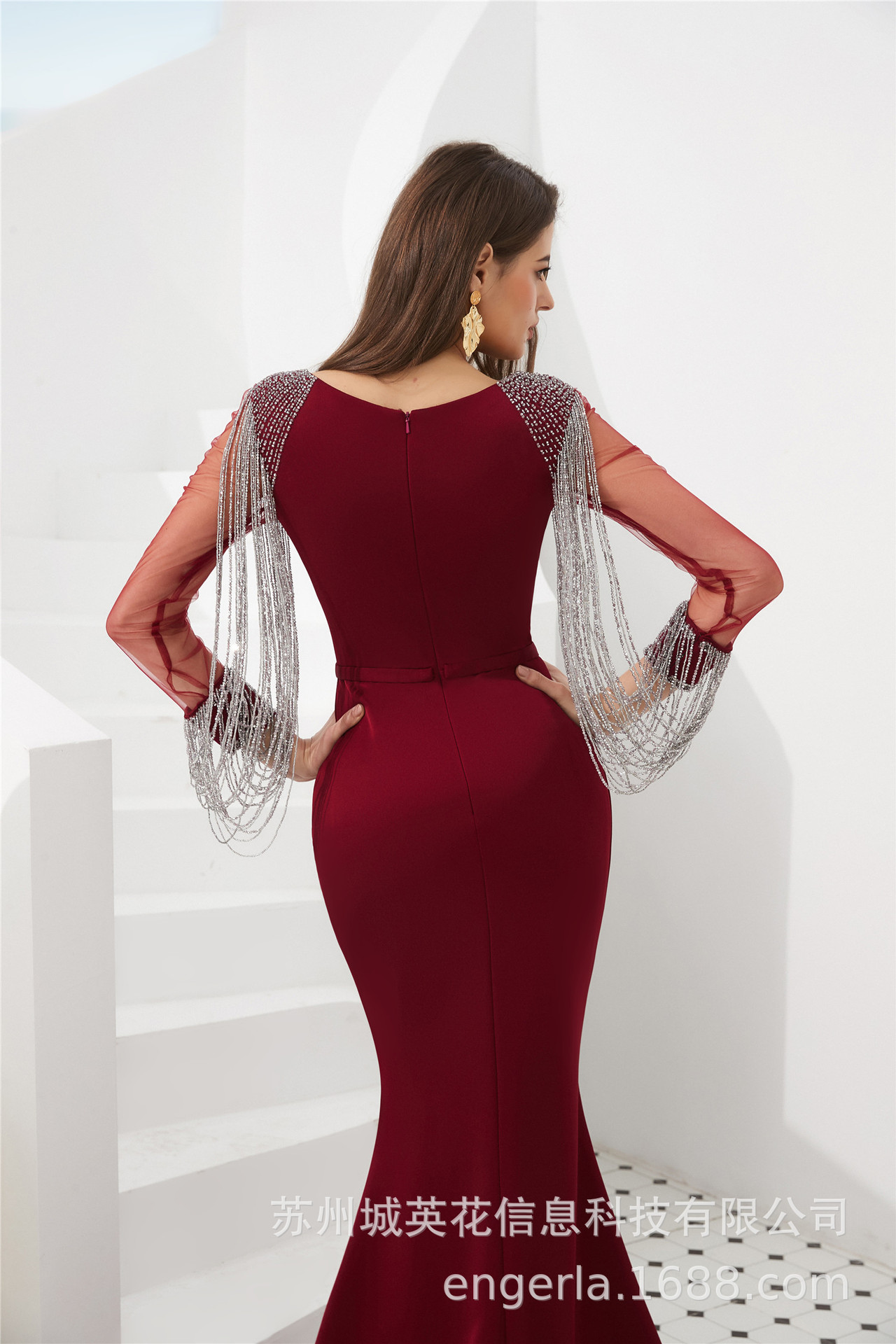 Luxury Long Sleeves Mermaid Sequins Evening Dress 2019 Vestido de Festa Crystal Beads Scoop Evening Gown Avondjurk - 5