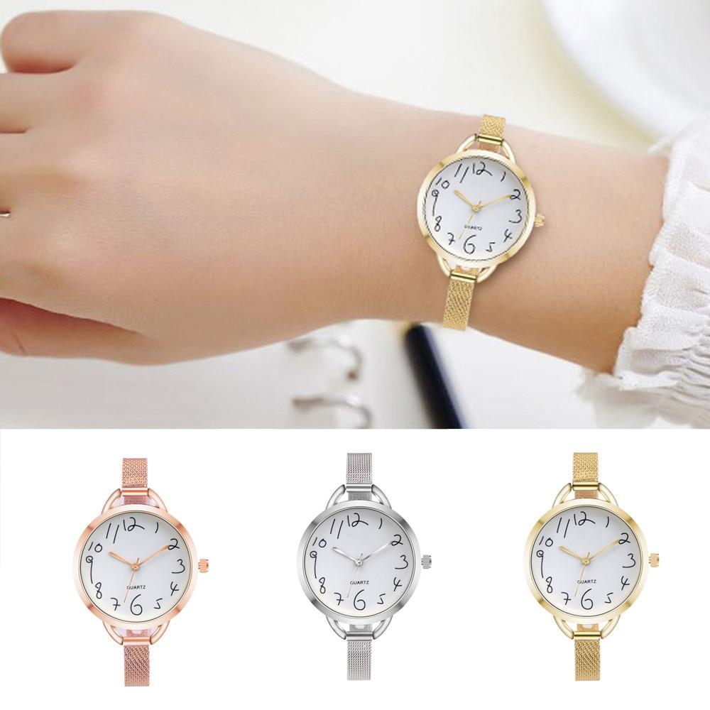 Fashion Women Casual Crystal Stainless Steel Analog Pointer Quartz Wrist Watch