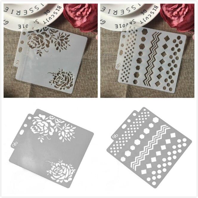 2Pcs/Lot 14*13cm Rose Flower Wave Edge DIY Craft Layering Stencils Painting Scrapbooking Stamping Embossing Album Paper Template