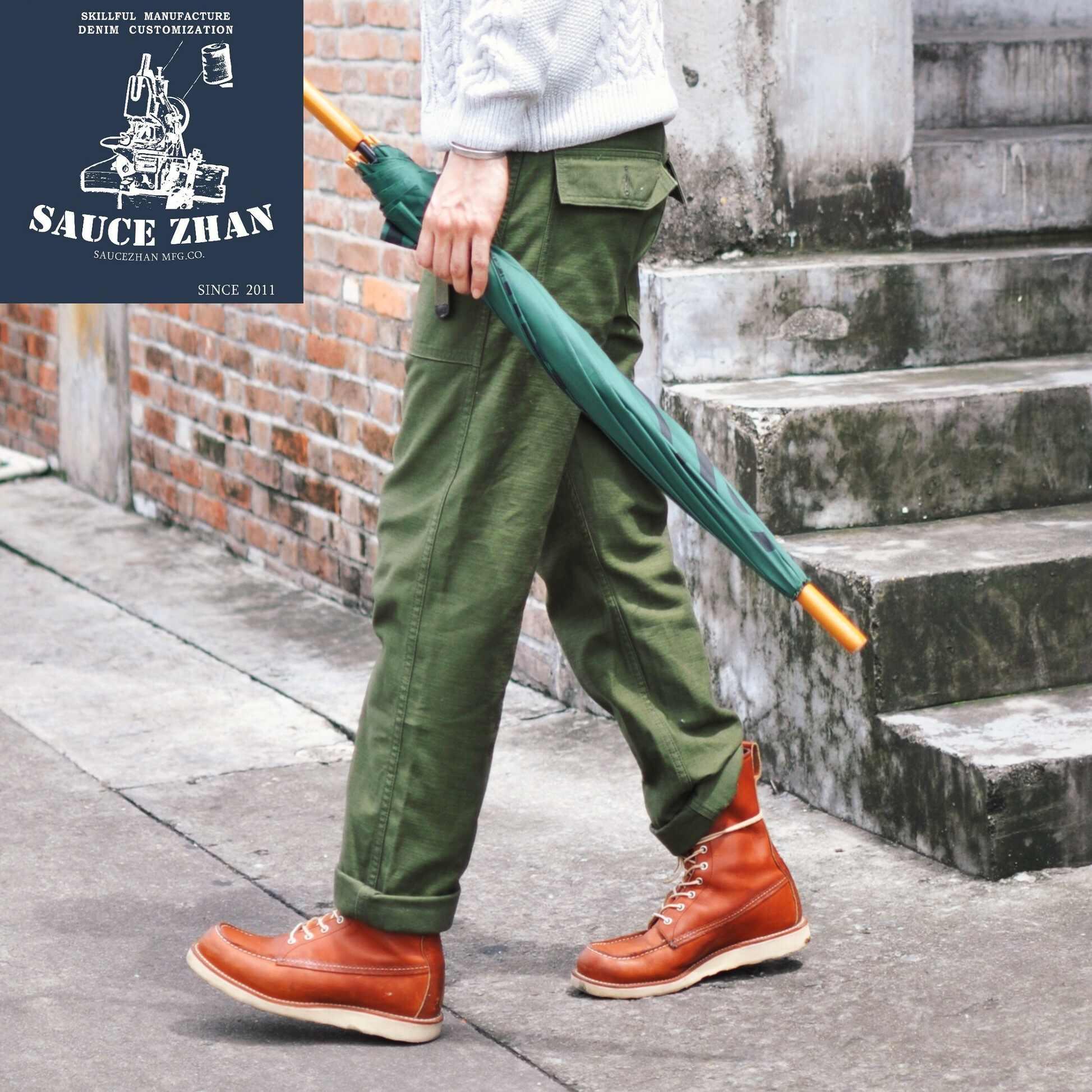SauceZhan OG107 Utility Müdigkeit Hosen Military Hosen VINTAGE Klassische Olive Satin Gerade Männer Hosen Hosen & Capris Casual Hosen