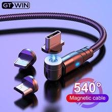 Gtwin 540 cabo magnético micro usb tipo c carregador de ímã do telefone de carregamento rápido para o iphone 11 pro x max 6 7 8 plus samsung xiaomi