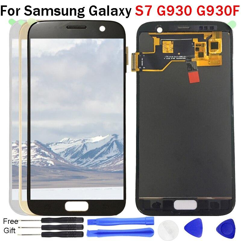 S7 Affichage Pour Samsung Galaxy S7 G930 G930A G930F L'assemblée de convertisseur analogique-Numérique D'écran Tactile d'affichage d'affichage à cristaux liquides de 100% Test TFT réglable lumineux