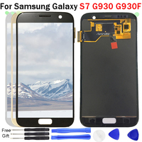 S7 Display For Samsung Galaxy S7 G930 G930A G930F LCD Display Touch Screen Digitizer Assembly 100% Test TFT adjustable bright