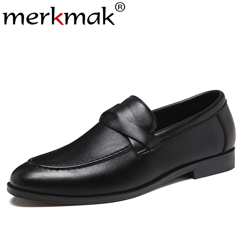 Merkmak New Autumn Men Shoes Fashion Leather Casual Shoes Wear-resistant Big Size Office Footwear Party Wedding Footwear For Men