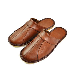 Image 2 - Genuine Cow Leather slippers couple indoor non slip men women home fashion casual single shoes PVC soft soles spring summer 505