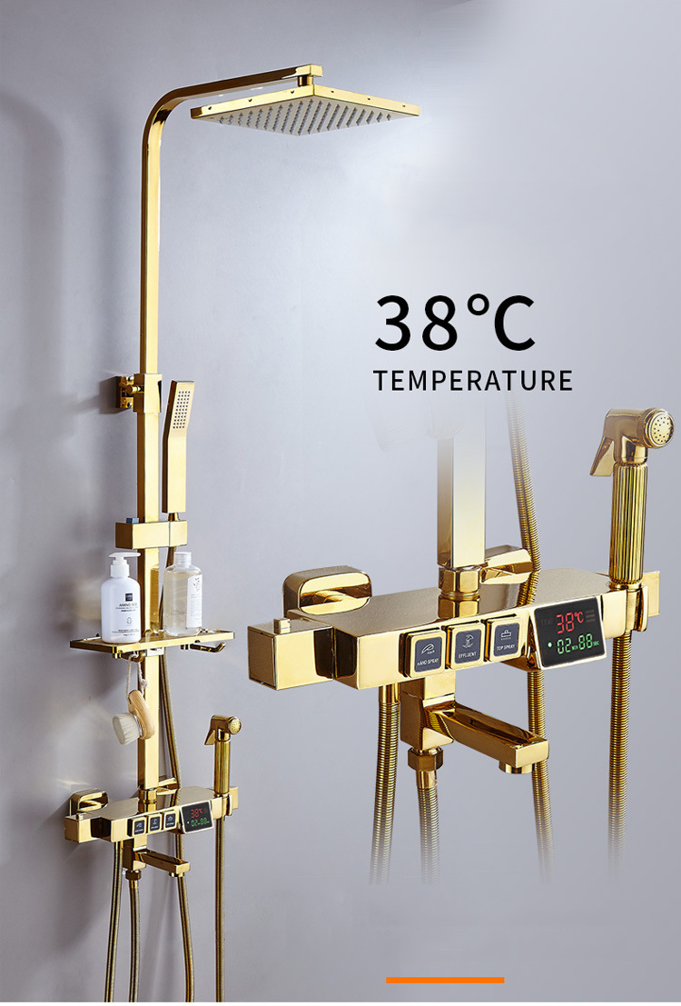 Digital black shower set thermostatic bath mixer bathroom shower set Gold Bathtub faucet with display digital shower set White