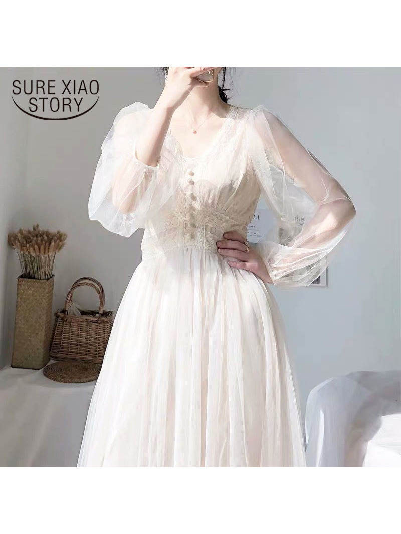 Spring-Dress Button Lace Solid-Puff-Sleeve Vintage Elegant with A-Line Voile Mesh Women
