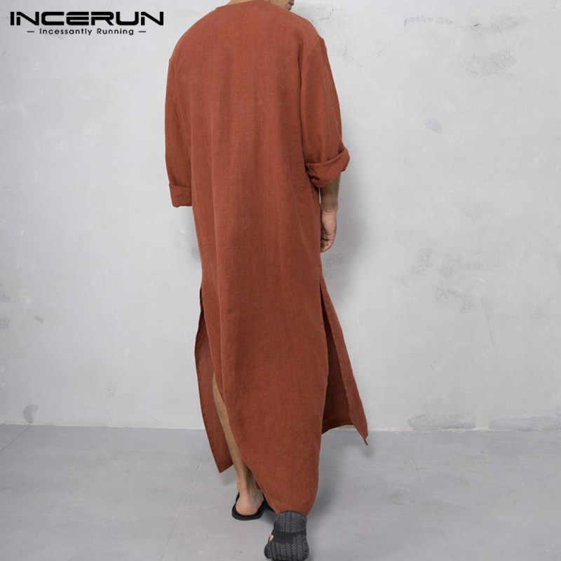 Incerun Muslim Kaftan Pria Islamic Jubba Thobe Vintage Lengan Panjang Kantong Solid Pria Jubah Arab Saudi Abaya 2019